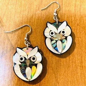 Unique Inlaid Abalone Troca Shell Owl Earrings